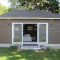 Canexel Walnut Garage Design 13x24 with Garage Door and Single Hung Window in Burlington, Ontario. I