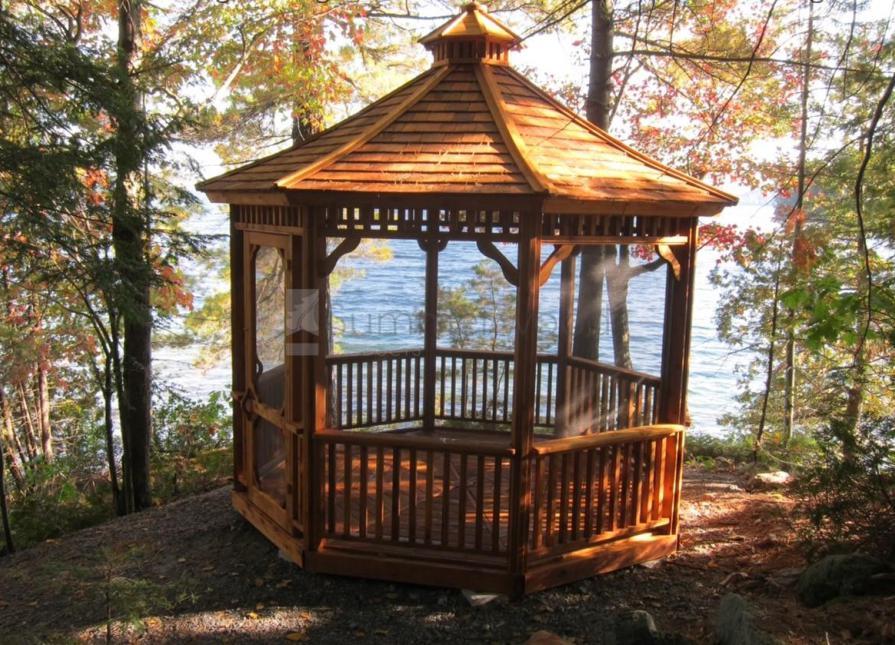 Cedar Monterey Outdoor Gazebo 11ft With Clic Screen Kit In Muskoka Lakes Ontario 207484
