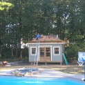 Santa cruz pool cabana 12x16 with arts and crafts double doors in Jackson New Jersey. ID number 1849