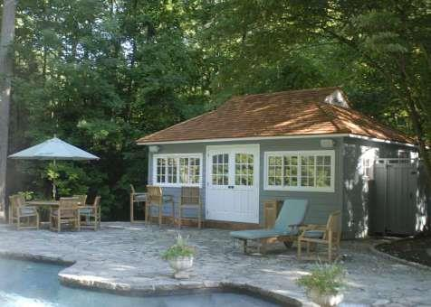 Cedar santa cruz pool house 16x22 with double arch deluxe doors in Chappaqua New York. ID number 321