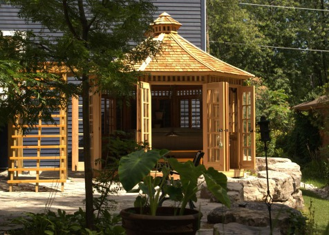 Wooden champlain hot tub gazebo 12' with DH2B designer overhead knobs in Toronto,Ontario.ID number 1