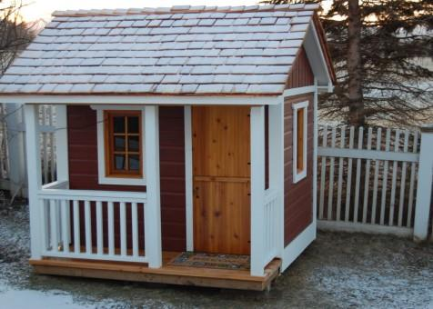 Peach Pickers Porch Playhouse Kit with cedar shingles and D19 playhouse dutch door in Fairfax, Vermo