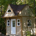 Prefab Bala bunkie 10 x 10 with rough cedar siding in Mckellar Ontario. ID number 194930-5