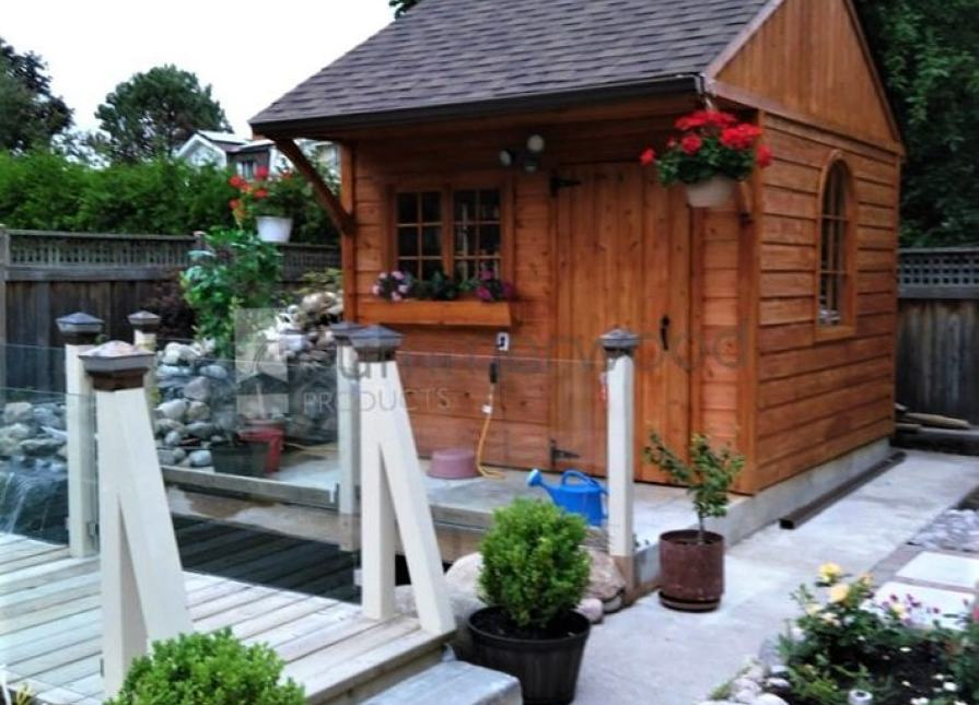 ID number; Cedar Glen Echo Garden Shed 10x10 with flower boxes in Collingwood, Ontario.