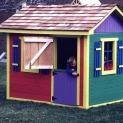 Bear Club 5x7 playhouse with fixed shutters in Toronto Ontario. ID number 103-1.