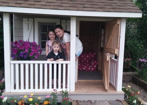 Peach picker porch 7x7 playhouse with dutch door in Bloomington Indiana. ID number 177035-1.