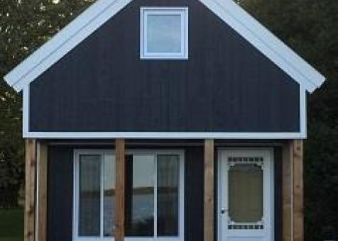Cheyenne cabin 14x20 with Canexel Midnight Blue siding in Carrying Place Ontario. ID number 194261-3