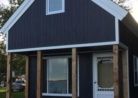 Cheyenne cabin 14x20 with Canexel Midnight Blue siding in Carrying Place Ontario. ID number 194261-5