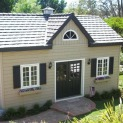 Kepler creek 24x24 cabins with antique flower boxes in Rancho Santa Fe California. ID number 90340-1