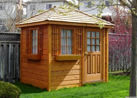 Cedar Sonoma 6x8 garden shed with cedar shingles in Whitby Ontario. ID number 6279-1