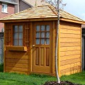 Cedar Sonoma 6x8 garden shed with cedar shingles in Whitby Ontario. ID number 6279-3