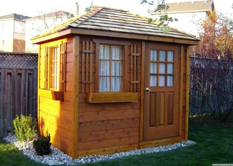 Cedar Sonoma 6x8 garden shed with cedar shingles in Whitby Ontario. ID number 6279-4