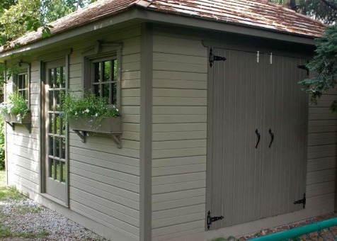 Cedar Sonoma 10x14 backyard shed with  French Doors in Toronto Ontario. ID number 33771-2
