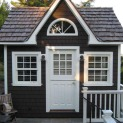 Cedar Copper Creek 10 x 12 garden shed with dormer in Woodside California. ID number 10714-2