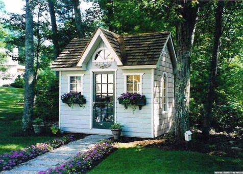 Copper creek 8 x 12 garden shed with antique flower boxes in Boxford Masschusetts. ID number 281-1