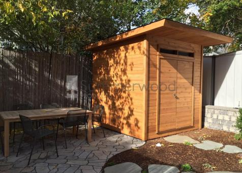 Modern Cedar Dune Shed 8 x 8 with double doors in Waltham, Massachusetts. ID number 210526-1