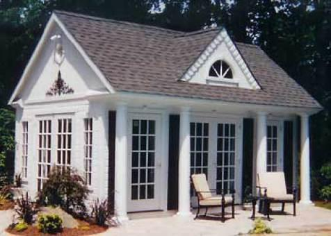 Windsor pool house 12x18 with french single doors ID number 1664-1.