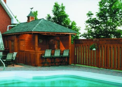 Surfside pool cabana 10x20 with roof shingles in Bradford Ontario. ID number 11303-2.