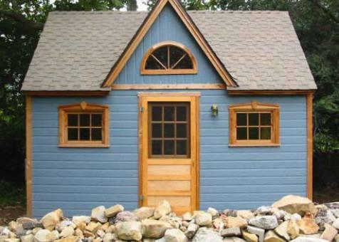 Telluride blue Shed 12x16 with dormer in Santa Barbara, California. ID number 524-1