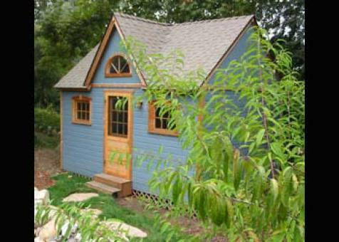 Telluride blue Shed 12x16 with dormer in Santa Barbara, California. ID number 524-5