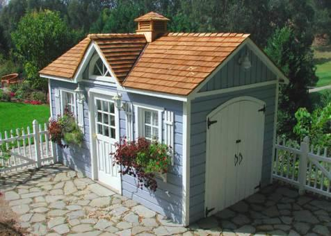 Blue Canexel Palmerston shed 8x14 with cedar shingles in Rolling Green, California. ID number 527-1