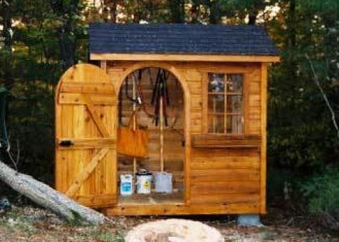 Palmerston  shed 5x7 with arched single door in Muskoka Ontario. ID number 544-1.