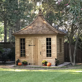 Our Cedar D4 door on a Melbourne Garden Shed in Shreveport, Los Angeles