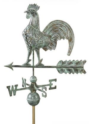 Copper Rooster Weathervane (Blue Verde)