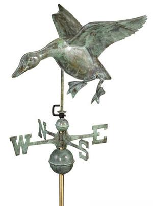 Copper Duck Weathervane (Blue Verde)