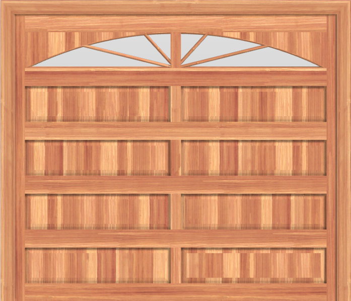 GD209 - Raised Panel Mahagony Garage Door with Sunburst Windows