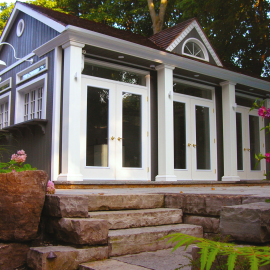 These elegant MDD8 Doors are featured on this Windsor Pool House in Toronto, ON