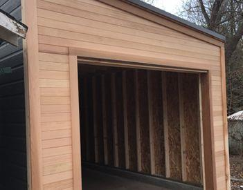 Garage building material clear cedar Summerwood.