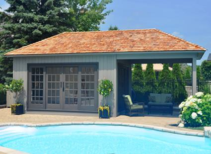 Modern and classic pool cabana kits get yours today for Garage pool house combos